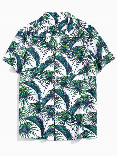 latest Vacation Tropical Leaf Print Pocket Patch Shirt - MULTI-A XS Mobile