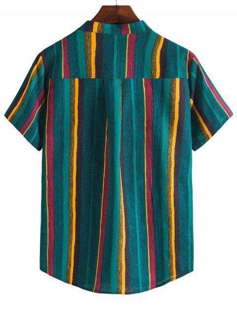 women's Colorful Striped Henley Stand Collar Casual Shirt - DEEP GREEN 3XL Mobile