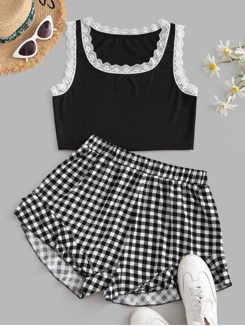 affordable ZAFUL Scalloped Lace Trim Ribbed Plaid Two Piece Set - BLACK M Mobile