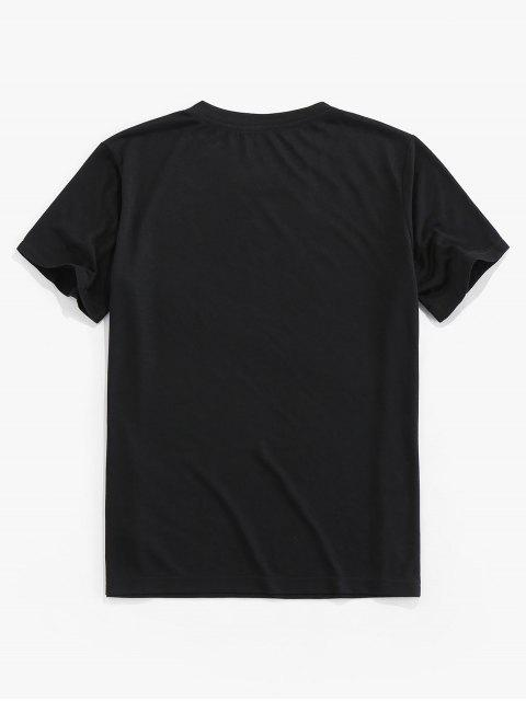 T-Shirt Basic con Stampa Girasole di ZAFUL - Nero 2XL Mobile