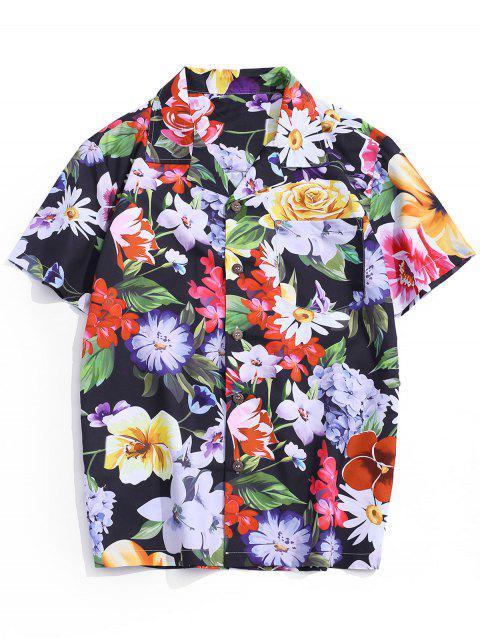 Wildflower Print Pocket Beach Button Up Shirt - Multi 2XL Mobile