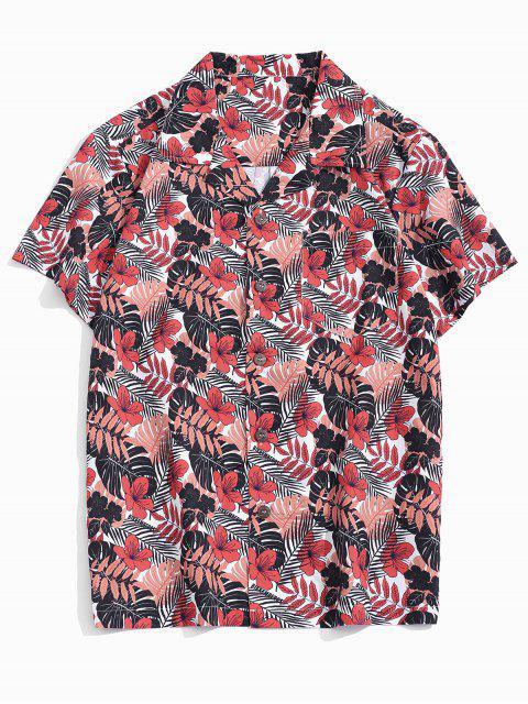 unique Tropical Leaf Print Pocket Patch Vacation Shirt - MULTI XS Mobile