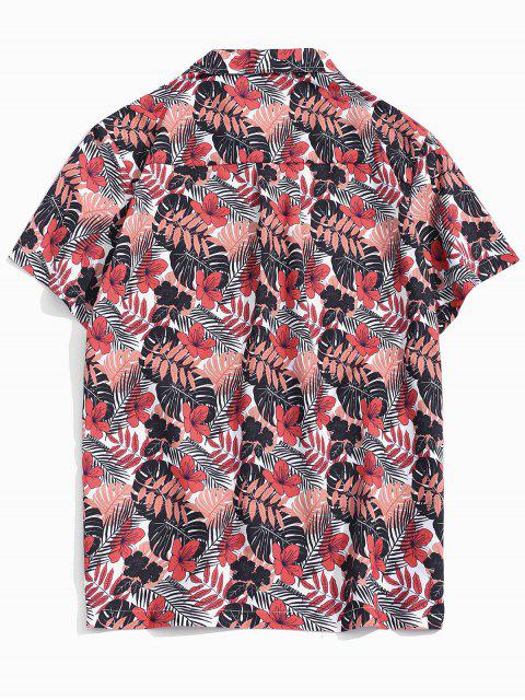 Tropical Leaf Print Pocket Patch Vacation Shirt - Multi Colori S Mobile