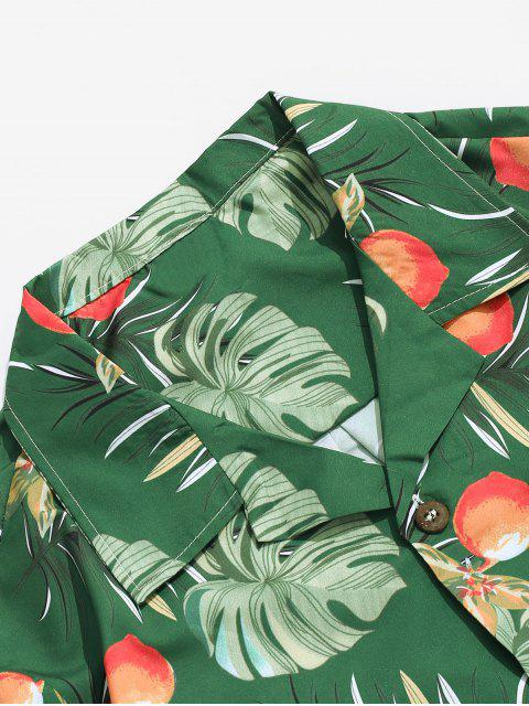 best Wildflower Leaf Print Pocket Beach Button Up Shirt - MULTI-A S Mobile