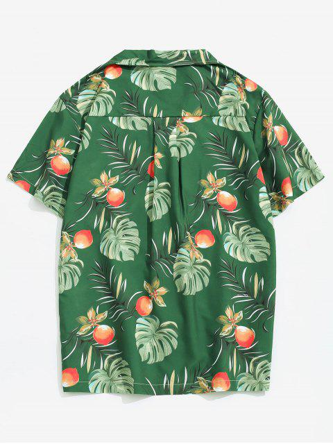 new Wildflower Leaf Print Pocket Beach Button Up Shirt - MULTI-A L Mobile