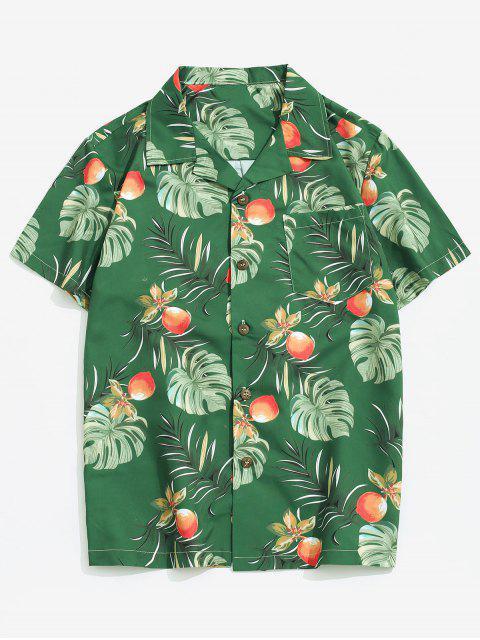 hot Wildflower Leaf Print Pocket Beach Button Up Shirt - MULTI-A XL Mobile