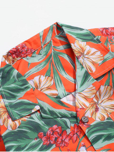 shop Wildflower Leaf Print Pocket Beach Button Up Shirt - MULTI-B S Mobile
