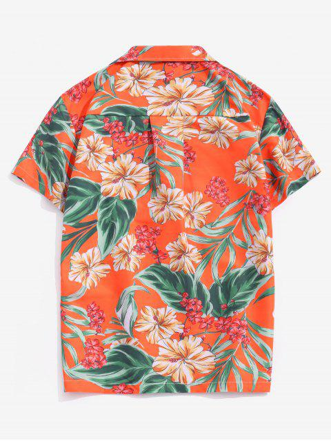 latest Wildflower Leaf Print Pocket Beach Button Up Shirt - MULTI-B L Mobile