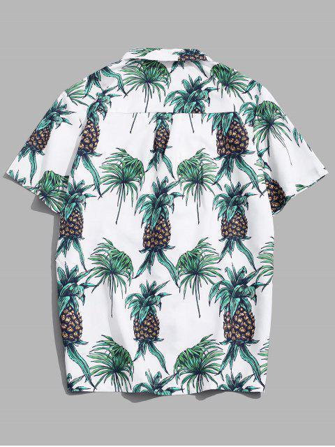 shop Tropical Pineapple Print Pocket Short Sleeve Beach Shirt - MULTI 2XL Mobile