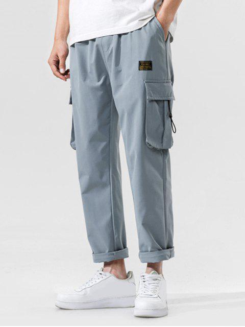Jogger Pantalones de Cintura Elástica con Multi-bolsillo - Azul claro S Mobile