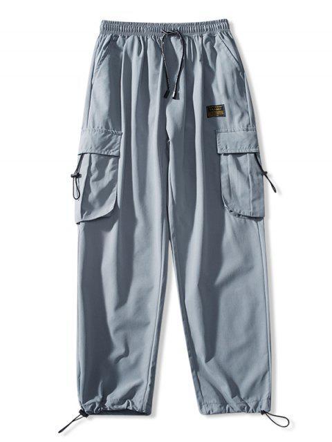 Jogger Pantalones de Cintura Elástica con Multi-bolsillo - Azul claro L Mobile