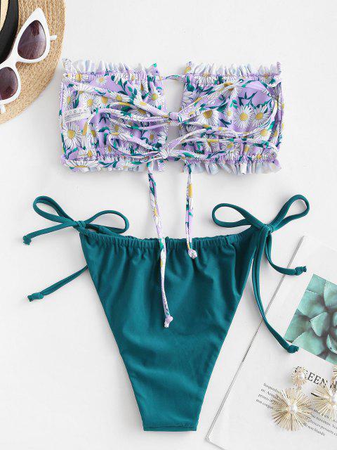 online ZAFUL Flower Print Ruffle Tie Side Bandeau Bikini Swimwear - LIGHT PURPLE L Mobile