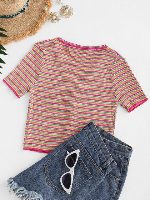 Camiseta Listrada de Abotoar e Listrado - Vermelho Um Tamanho Mobile