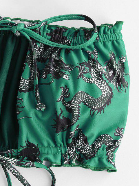ZAFUL Drachendruck Rüschen Orientalische Bikini Badebekleidung - Pfauenblau S Mobile
