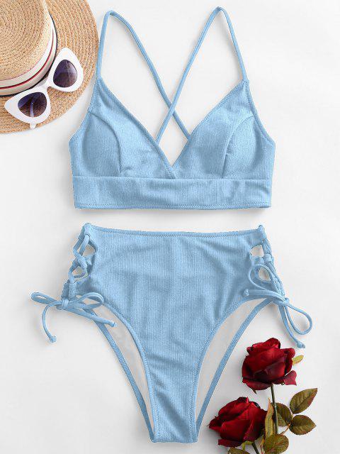 ZAFUL Bikini Badebekleidung mit Gerippten Rippen und Schnürung - Hellblau S Mobile