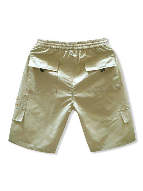 latest Letter Embroidered Casual Drawstring Shorts - KHAKI S Mobile