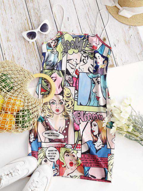 online Bungee Straps Pop Art Figure Print Bodycon Dress - YELLOW XL Mobile