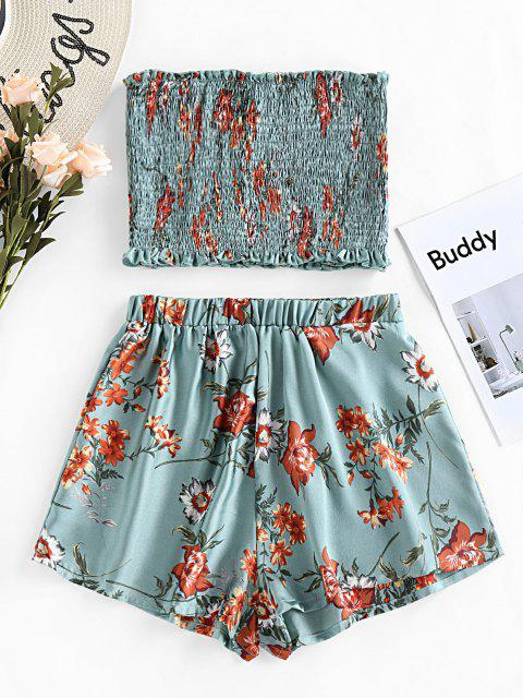 latest ZAFUL Smocked Strapless Floral Print Two Piece Set - BLUE HOSTA S Mobile