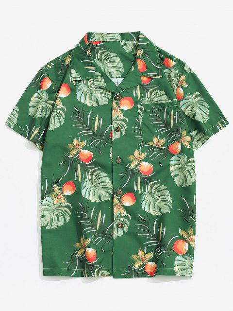 Wildflower Leaf Print Pocket Beach Button Up Shirt - Multi-A XS Mobile