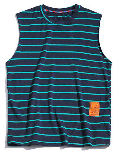 Striped Print Casual Tank Top - Cadetblue 2xl