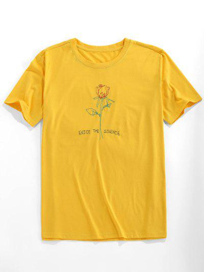 ZAFUL Short Sleeve Rose Pattern Embroidery T-shirt - Bright Yellow 2xl