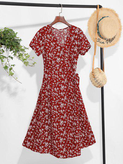 Tiny Floral Print A Line Wrap Dress - Red Wine S
