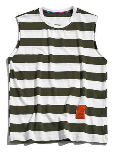 Color Blocking Letter Pattern Tank Top - Camouflage Green Xl