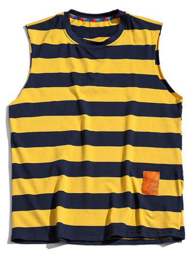 Color Blocking Letter Pattern Tank Top - Bright Yellow Xl
