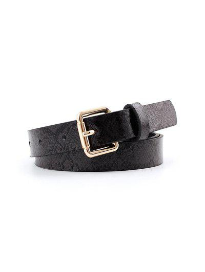 Snake Print Buckle Belt - Black