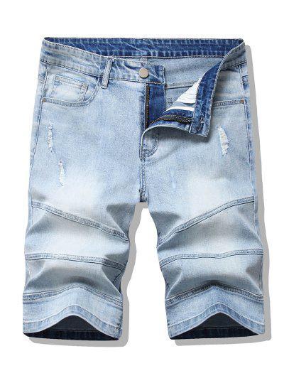 Shorts De Denim Desgarrado Y Deslavado - Azul Claro 32