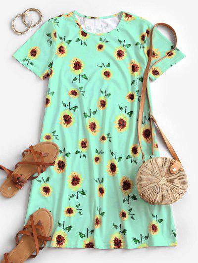 Sunflower Print Trapeze T-shirt Dress - Green S