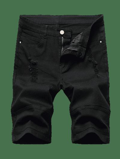 Distressed Casual Denim Shorts
