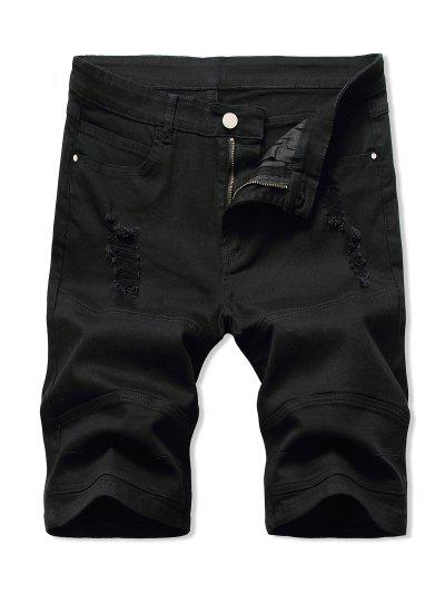 Distressed Casual Denim Shorts - Black 36