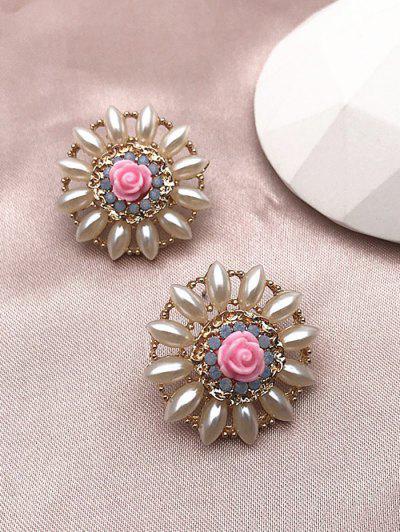 Flower Faux Pearl Earrings - Golden