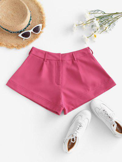 Solid Office Wide Leg Shorts - Light Pink S