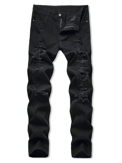 Distressed Light Wash Casual Jeans - Black 32