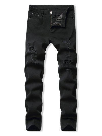 Mosca De La Cremallera Destroyed Jeans Cónicos - Negro 38