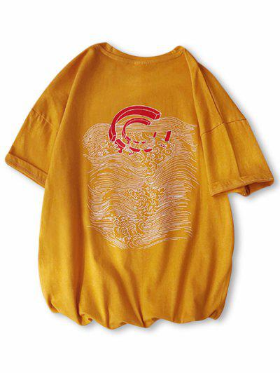 Drop-shoulder Magnet Wave Pattern Sleeve Tee - Bee Yellow S