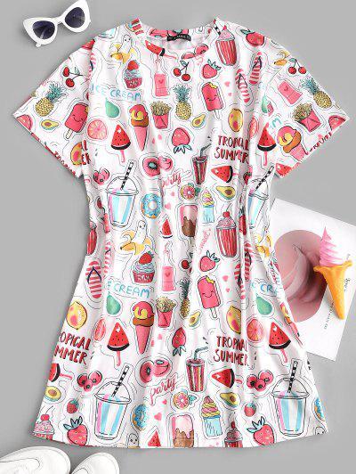 ZAFUL Fruit Ice Cream Drop Shoulder Tee Dress - White Xl