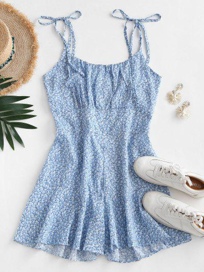 Tie Shoulder Ditsy Floral Wide Leg Romper - Light Blue M