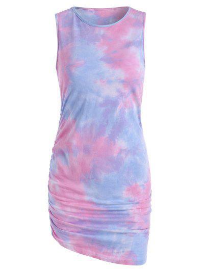 Tie Dye Draped Tank Dress - Light Pink L