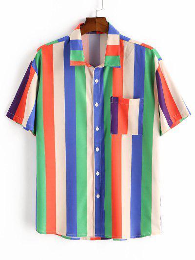 Colorful Striped Print Short Sleeve Pocket T-shirt - Multi 2xl