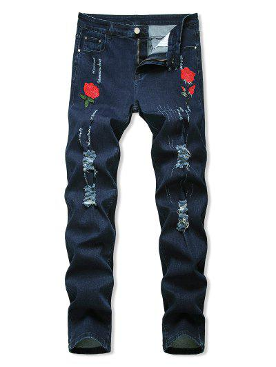 Floral Embroidered Ripped Design Jeans - Deep Blue 34