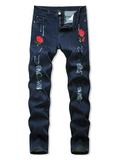 Blumen Bestickte Gerippte Stil Jeans - Tiefes Blau 40
