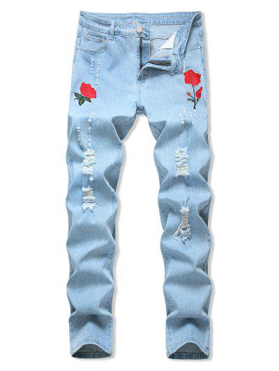 Jeans Rasgados Con Bordado Floral - Azul Claro 34
