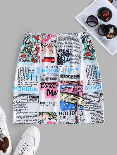 ZAFUL Slit Newspaper Pop Art Print Mini Skirt - White S