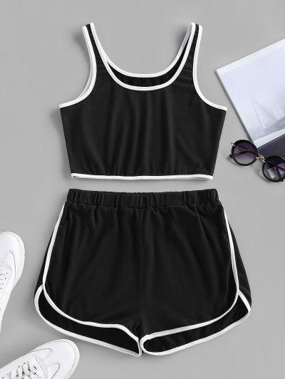 ZAFUL High Waisted Ringer Shorts Set - Black S