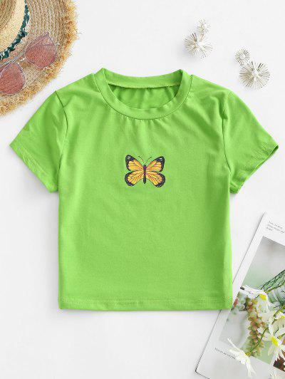 Cropped Butterfly Graphic Tee - Green S