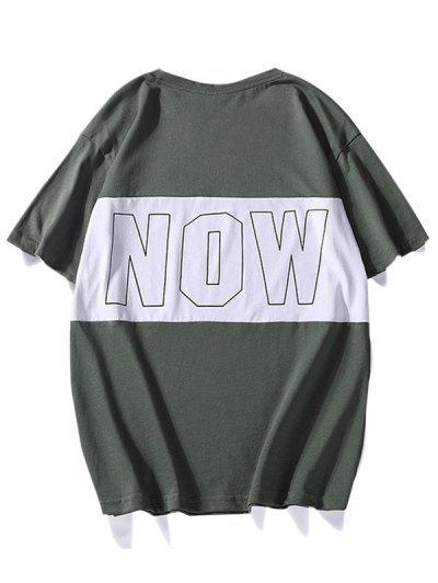Camiseta Casual Contraste Gráfica De Manga Longa Com Gola Redonda - Verde De Variedade De Trevo L