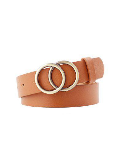Double Rings Buckle Belt - Light Coffee